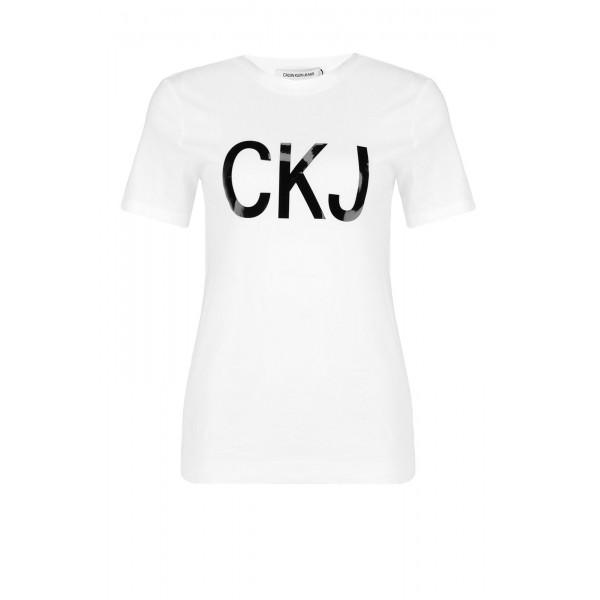 T-shirt Calvin Klein Blanc avec logo CKJ noir
