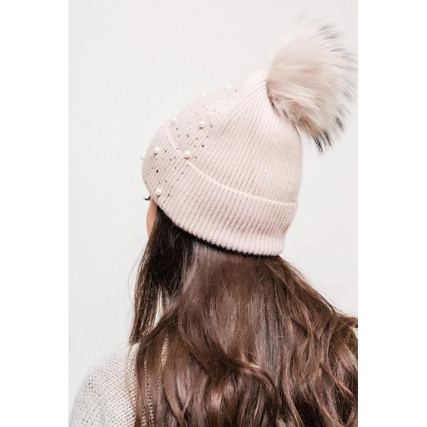 Bonnet à perles avec pompon détachable