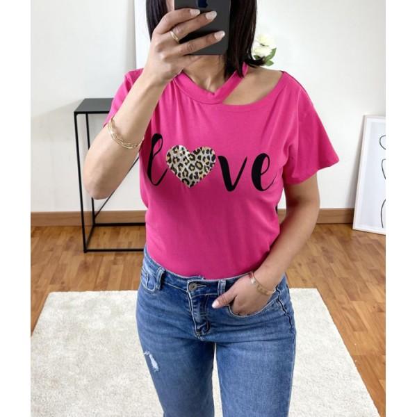 T-shirt Rose Love à col ouvert