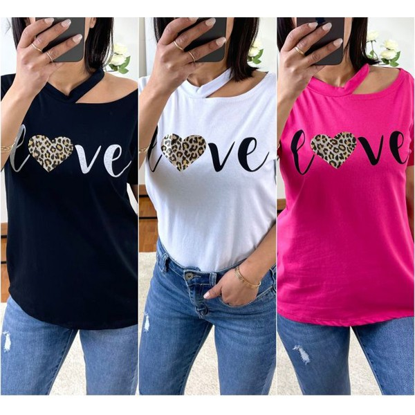T-shirt Noir Love à col ouvert