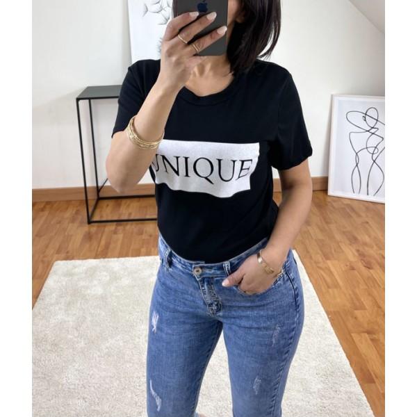 T-shirt Noir Unique à col rond