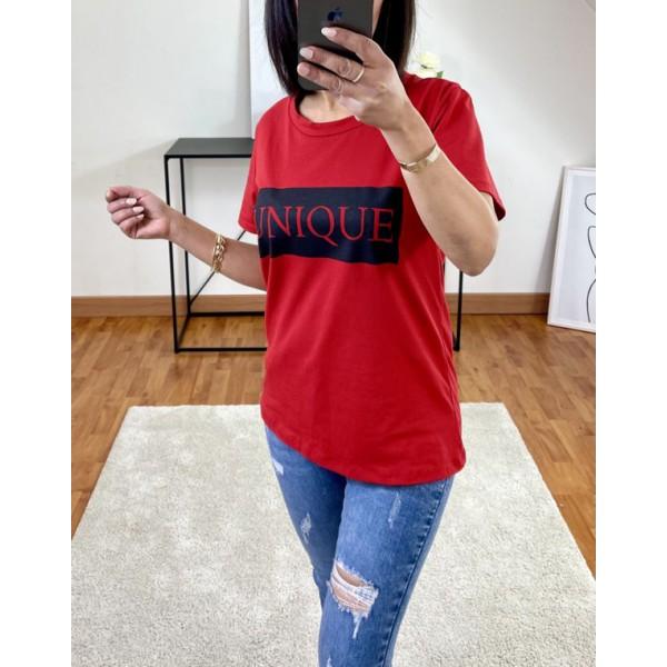 T-shirt Rouge Unique à col rond