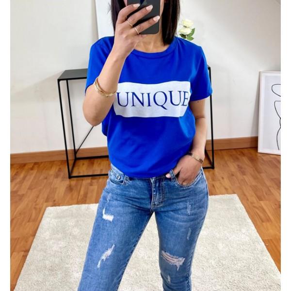 T-shirt Bleu Unique à col rond