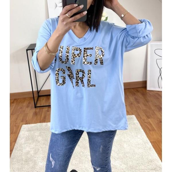 T-shirt Bleu Super Girl