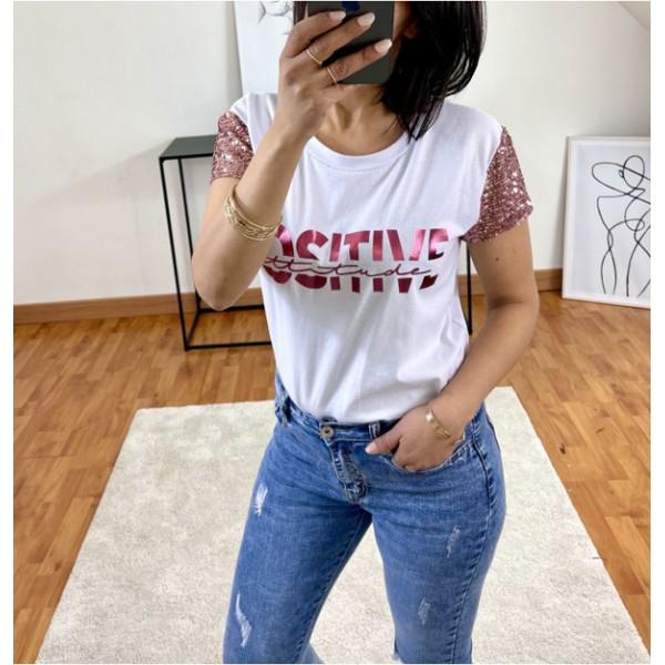 T-shirt blanc Positive Attitude