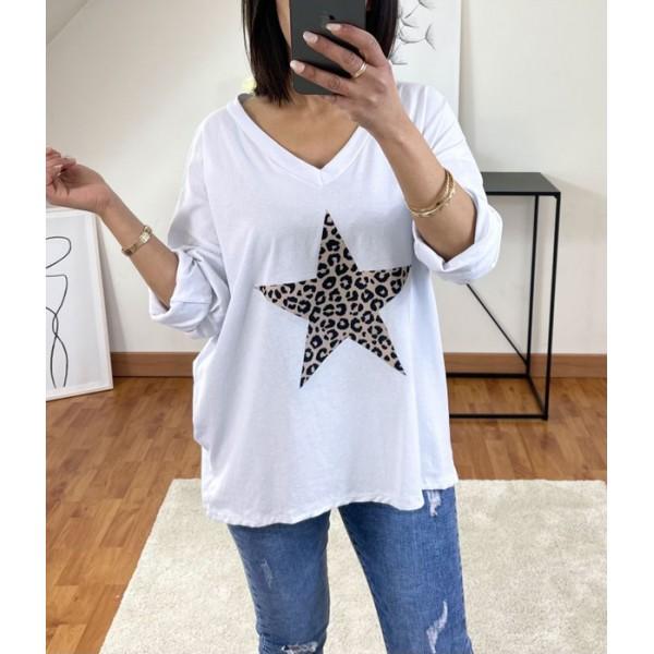 T-shirt Blanc avec étoile en léopard